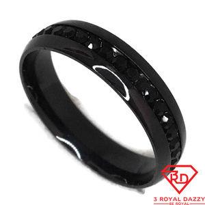 Black Cubic Zirconia Ring black gold on Steel s13